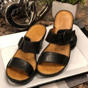 Born Black Leather Heeled Sandals.     #11